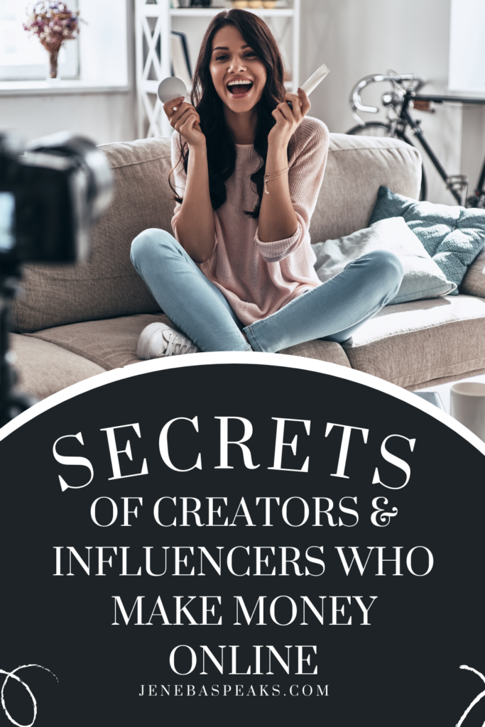 graphic with secrets to influencers who make money