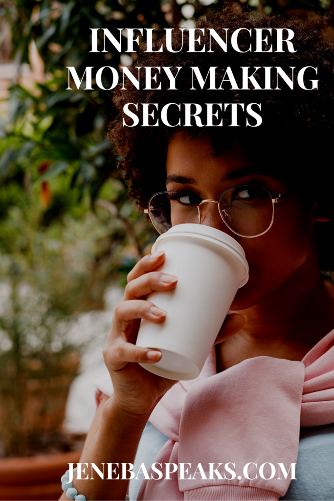 graphic with sipping coffee on graphic about blogger secrets